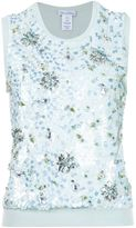 Oscar de la Renta sequinned tank top - women - Virgin Wool/Sequin - S