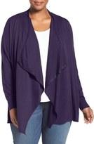 Sejour Cotton Blend Drape Front Cardigan (Plus Size)
