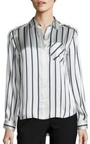 ATM Anthony Thomas Melillo Striped Silk Charmeuse Shirt