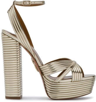 Aquazzura Gold Sundance 140 Platform Sandals