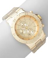 Geneva Platinum Gold Ridge Dial Boyfriend Chronograph Watch