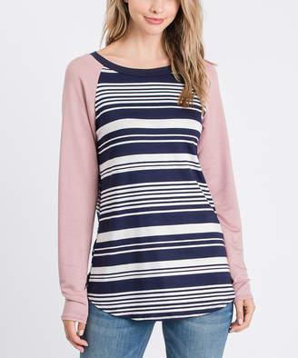 Cool Melon Women's Tee Shirts Navy - Navy Stripe & Mauve French Terry Raglan Tee - Women & Plus