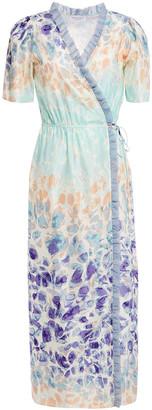 Hofmann Copenhagen Erica Ruffle-trimmed Cotton And Silk-blend Midi Wrap Dress
