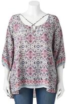 Living Doll Juniors' Plus Size Woven Print Cross Front Top