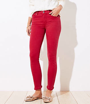 LOFT Curvy Frayed Skinny Jeans in Rio Red
