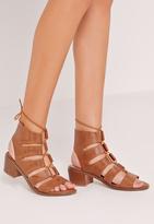 Missguided Block Heel Gladiator Tan