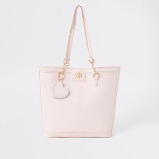 River Island Girls Pink RI monogram shopper bag