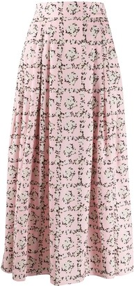 Emilia Wickstead Square Rose print skirt