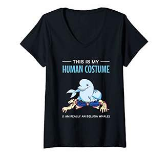 Womens This Is My Human Costume I'm A Beluga Whale Halloween V-Neck T-Shirt