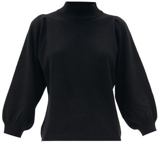 Allude Funnel-neck Balloon-sleeve Wool-blend Sweater - Black