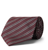 Tom Ford 8cm Striped Woven Silk Tie - Burgundy
