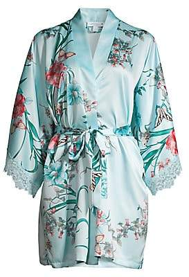 In Bloom Women's Lace-Trim Floral Satin Robe