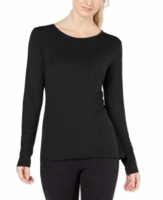 Ideology Womens Black Long Sleeve Jewel Neck Top Size: S