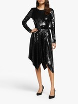 Michael Kors MICHAEL Sequin Handkerchief Hem Dress, Black