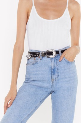 Nasty Gal Womens Woman on a Mission Western Studded Belt - Black - One Size