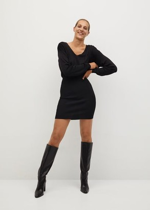 MANGO Fitted jersey dress black - 2 - Women
