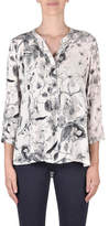 Jump 3/4 Sleeve Pintuck Sketch Floral Shirt