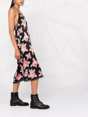 R 13 Floral Lace-Back Slip Dress