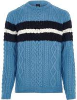 River Island Mens Blue cable knit stripe jumper