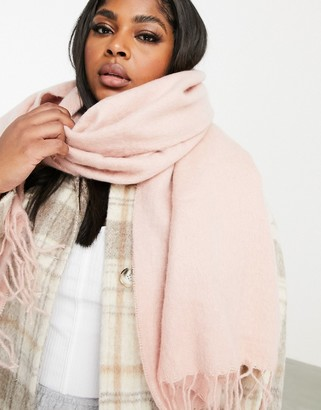 ASOS DESIGN supersoft long woven scarf with tassels dusty pink