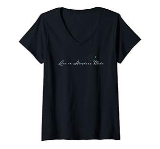 Womens Live on Airplane Mode V-Neck T-Shirt