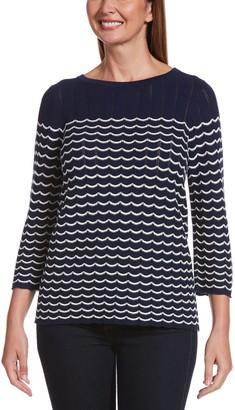 Rafaella Women's Striped-Scallop Sweater
