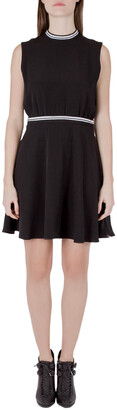 Victoria Victoria Beckham Black Crepe Ribbed Trim Sleeveless Mini Dress M