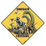 """Crossings Dinosaur Crossing 12"""" X 12"""" Aluminum Sign"""