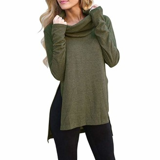 DOMBX Womens Blouse Tunic Tops Long Sleeve Roll Cowl Neck Cotton Linen Sweatshirt Jumper Pullover Women's Casual Fashion Solid Color Side Slit Elegant Basic Tees T-Shirt Sweater Cardigan Shirts Green