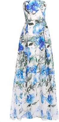 Carolina Herrera Strapless Pleated Floral-print Silk-organza Gown
