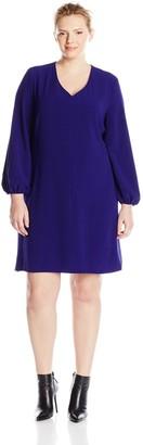 Taylor Dresses Women's Plus-Size V Neck Long Sleeve Dress
