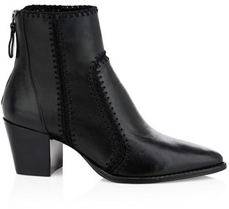 Alexandre Birman Benta Embroidered Leather Ankle Boots