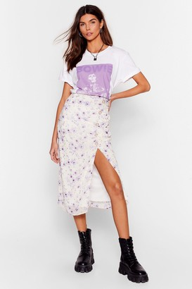 Nasty Gal Womens Growing You Off Floral Midi Skirt - Lilac