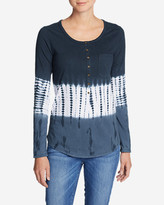 Eddie Bauer Women's Gypsum Long-Sleeve Henley Shirt - Tie Dye