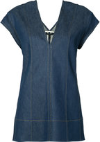 Derek Lam V-neck denim top - women - Cotton/Polyurethane - 44