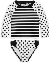 Kate Spade Girls' Dot & Stripe Rash Guard 2-Piece Swimsuit - Sizes 7-14