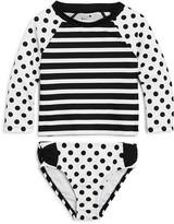 Kate Spade Girls' Dot & Stripe Rash Guard Two Piece Swimsuit - Little Kid