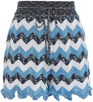 M Missoni Ruffle-trimmed Metallic Crochet-knit Shorts