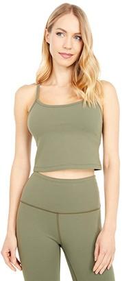 Beyond Yoga Supplex Slim Racerback Cropped Tank (Aviator Green) Women's Clothing