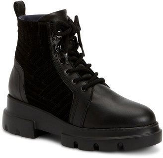 Aquatalia Kaylynn Mixed Leather Combat Booties