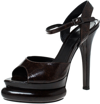 Fendi Two Tone Patent Leather Bubble Platform Ankle Strap Sandals Size 37