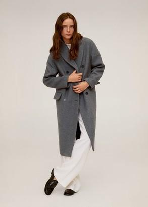MANGO Double-breasted wool coat grey - L - Women