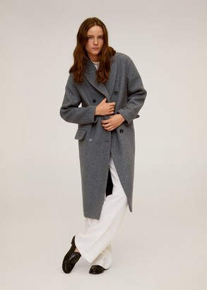 MANGO Double-breasted wool coat grey - S - Women