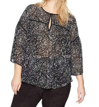 Lucky Brand Women's Printed Bell Sleeve Plus-Size Top