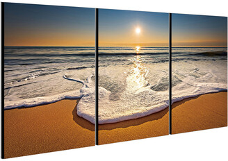 Chic Home Design Sunset 3Pc Set Wrapped Canvas Wall Art