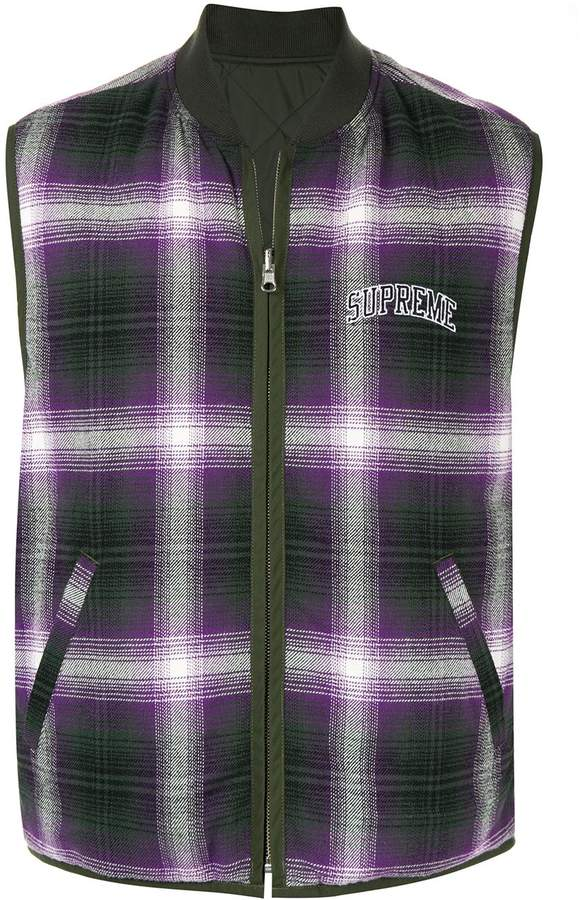 Plaid Supreme Vest Shadow Reversible yb6gYf7
