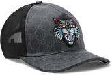 Gucci Angry Cat Appliquéd Coated-Canvas and Mesh Baseball Cap