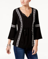 Style&Co. Style & Co Petite Lace-Detail Peasant Top, Only at Macy's
