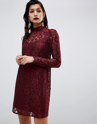 Asos Design DESIGN lace shift mini dress with long sleeves-Red