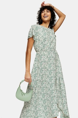 Topshop Womens Ivory Paint Print Ruched Neck Midi Dress - Ivory